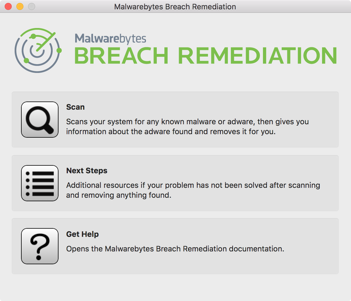 Malwarebytes Breach Remediation graphical user interface main screen